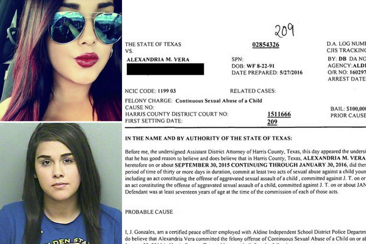 Alexandria Vera, 24, is charged with sexual abuse of a child. The student, age 14, and Vera allegedly began a sexual relationship while Vera was his eighth grade English teacher in summer school 2015 at Stovall Middle School.