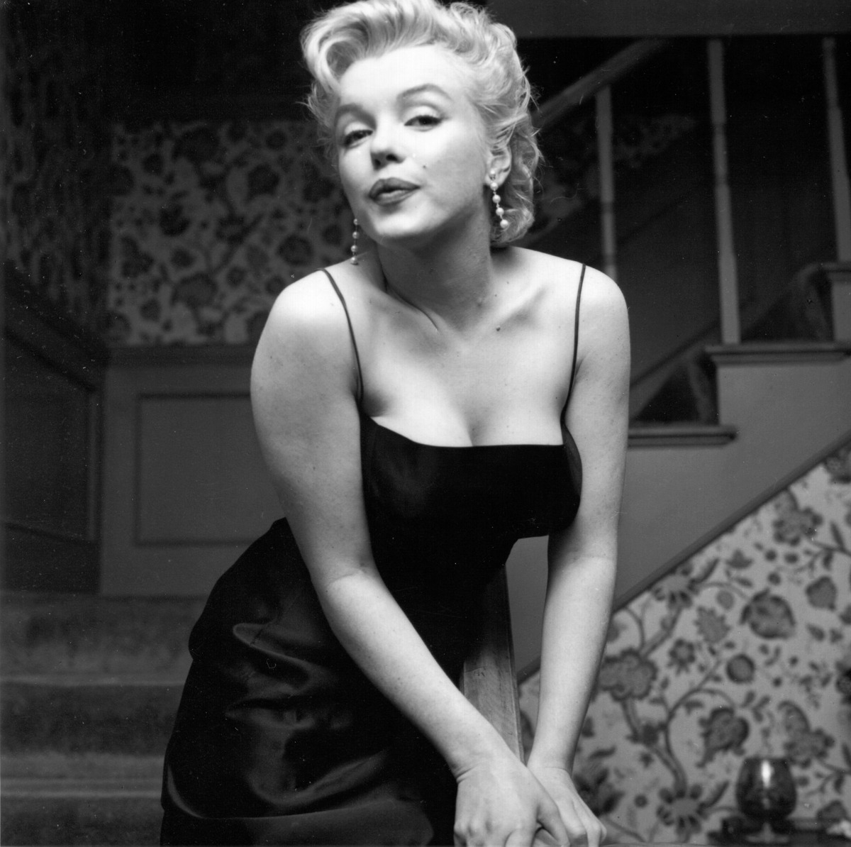 Movie star Marilyn Monroe hosts a press party held at her home on March 3, 1956 in Los Angeles.