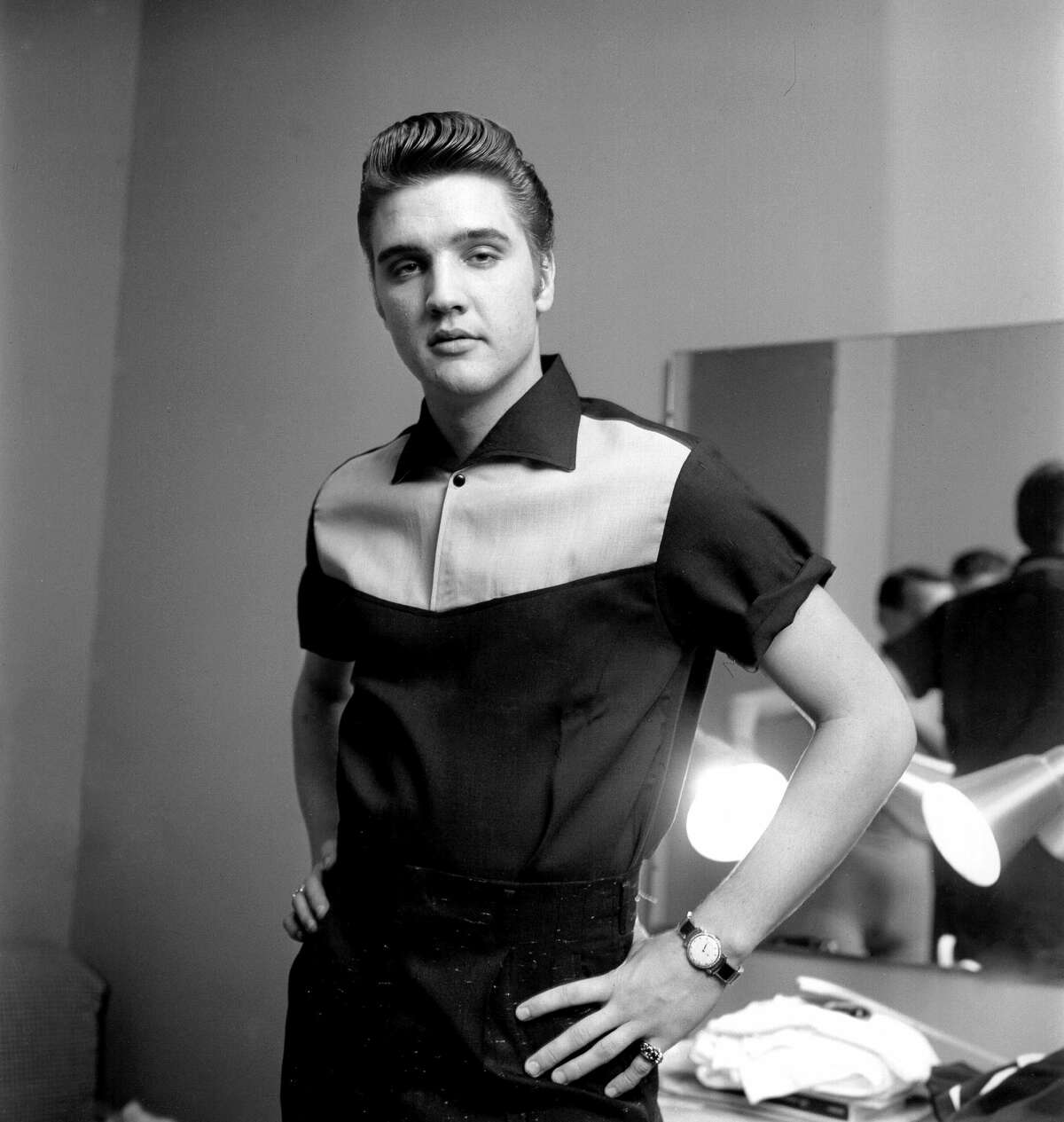 Rock and roll musician Elvis Presley backstage at the Milton Berle Show in Burbank, California on June 4, 1956.