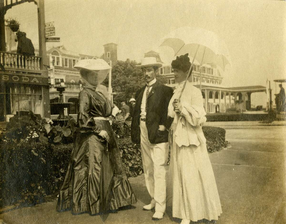 Unidentified group of 2 women and a man. Location unknown. Courtesy of Greenwich Historical Society