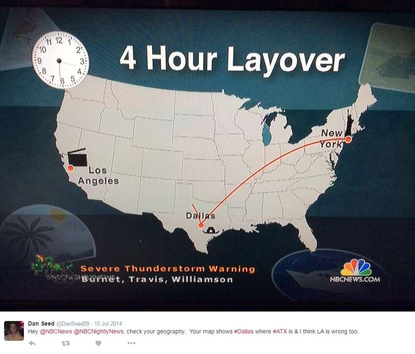 NBC News mistakenly put Dallas in Central Texas back in July 2014, according to a tweet by @DanSeed09.