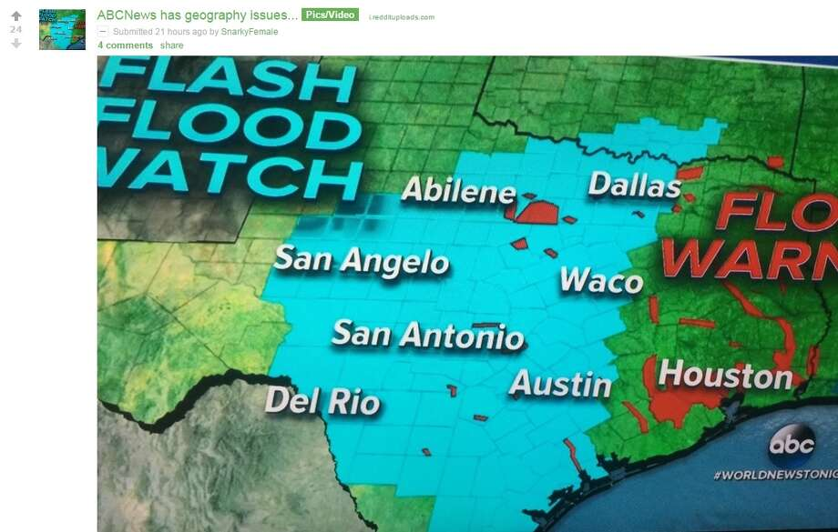 """Reddit user """"SnarkyFemale"""" caught a World News Tonight error which placed San Antonio up north and Austin toward the coast. Photo: Twitter.com"""
