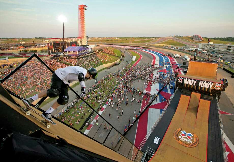 Tom Schaar takes off from the top off the Big Air ramp at the X Games at Circuit of the Americas on June 5, 2015. Schaar got the bronze medal in the Skateboard Big Air Event. Photo: Jay Janner /Austin American-Statesman / Austin American-Statesman