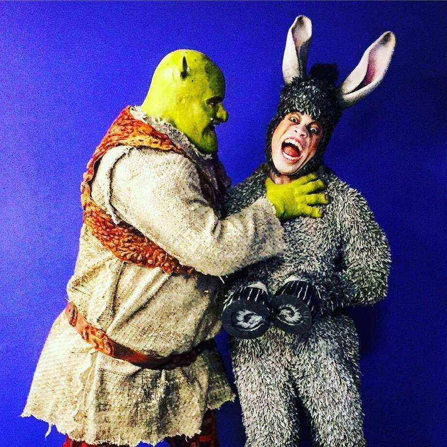 """Jared Howelton (right) plays Donkey, the motor-mouthed sidekick to the title character (played by Kyle Timson, left) in an international tour of the musical """"Shrek."""" Photo: Courtesy Photo"""