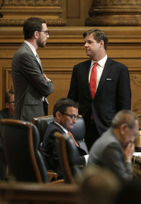 Supervisor's Scott Wiener (left) and Mark Farrell have proposed regulations on in-law units. Photo: Michael Macor, The Chronicle
