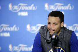 Golden State Warriors' Stephen Curry answers questions after an NBA basketball practice Wednesday, June 1, 2016, in Oakland, Calif. The Warriors host the Cleveland Cavaliers in Game 1 of the NBA finals on Thursday. (AP Photo/Marcio Jose Sanchez)