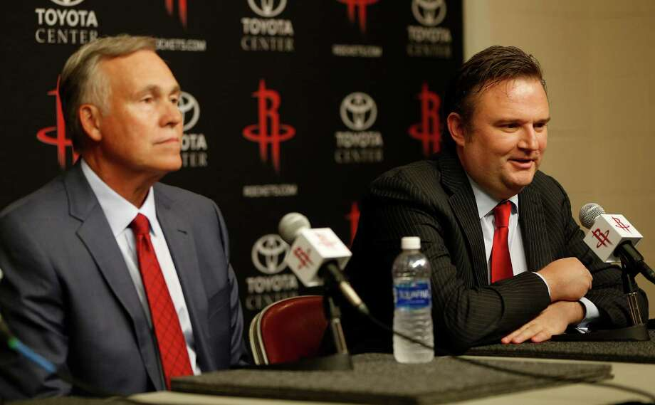 Mike D'Antoni, and GM Daryl Morey speak to the media during a press conference announcing D'Antoni as the Houston Rockets new head coach, Wednesday, June 1, 2016, in Houston. Photo: Karen Warren, Houston Chronicle / © 2016 Houston Chronicle