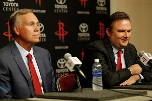 Mike D'Antoni, and GM Daryl Morey speak to the media during a press conference announcing D'Antoni as the Houston Rockets new head coach, Wednesday, June 1, 2016, in Houston.