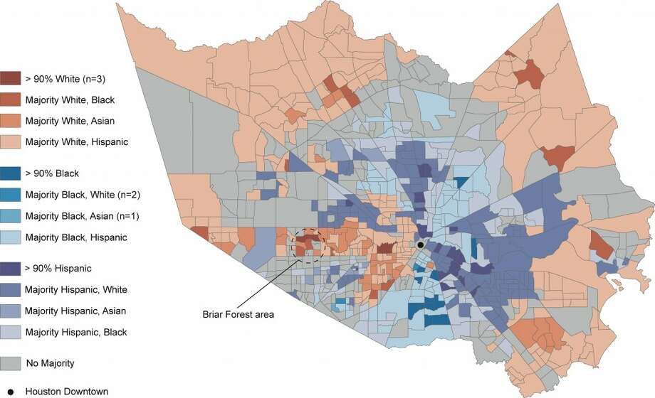 Harris County census tracts by their top two races or ethnicities. (Based on 2010 Census figures.) Photo: Kinder Insitute For Urban Research