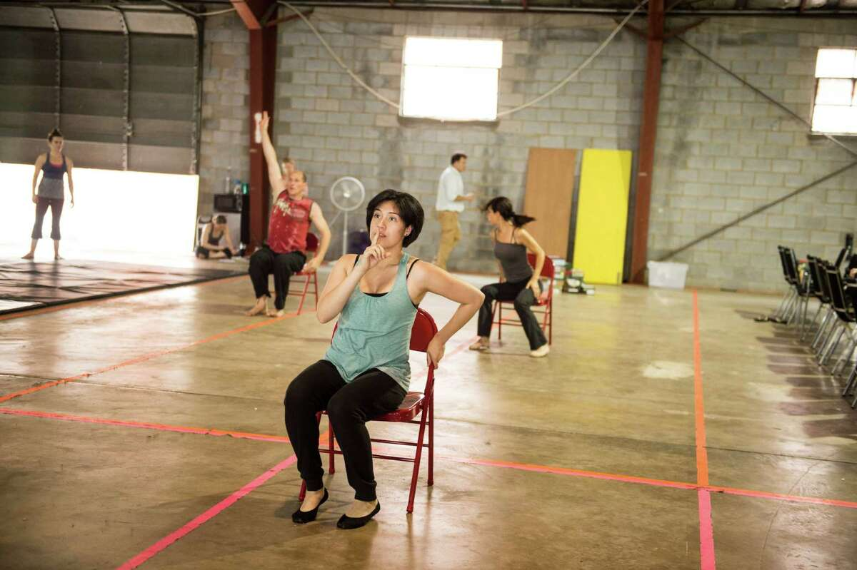 Gaby Vazquez dances during rehearsal at Aerial Horizon.