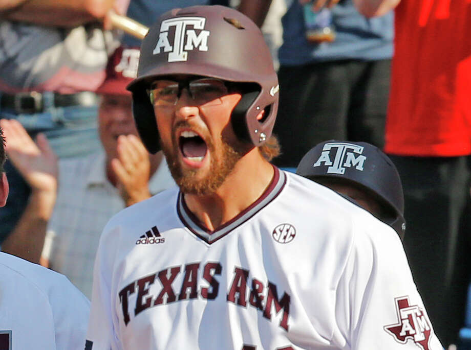 Texas A&M's Jonathan Moroney shouts in celebration after scoring against Florida in the eighth inning of the Southeastern Conference baseball championship game on May 29, 2016, in Hoover, Ala. Photo: Brynn Anderson /Associated Press / Copyright 2016 The Associated Press. All rights reserved. This material may not be published, broadcast, rewritten or redistribu