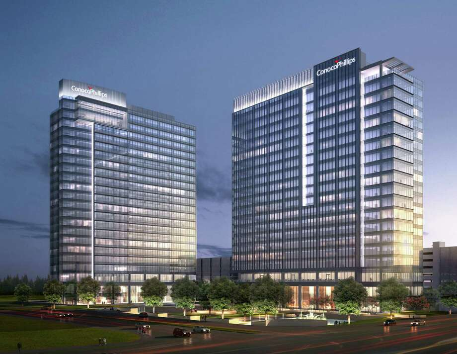 ConocoPhillips had planned to occupy both Energy Center Three and Four in west Houston's Energy Corridor, but now Energy Center Four will be subleased out. Photo: Trammell Crow Co.