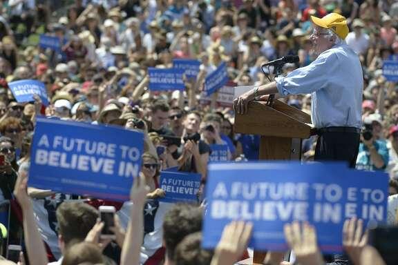 Senator Bernie Sanders speaks at the Cubberly Community Center in Palo Alto, Calif., on Wednesday, June 1st, 2016