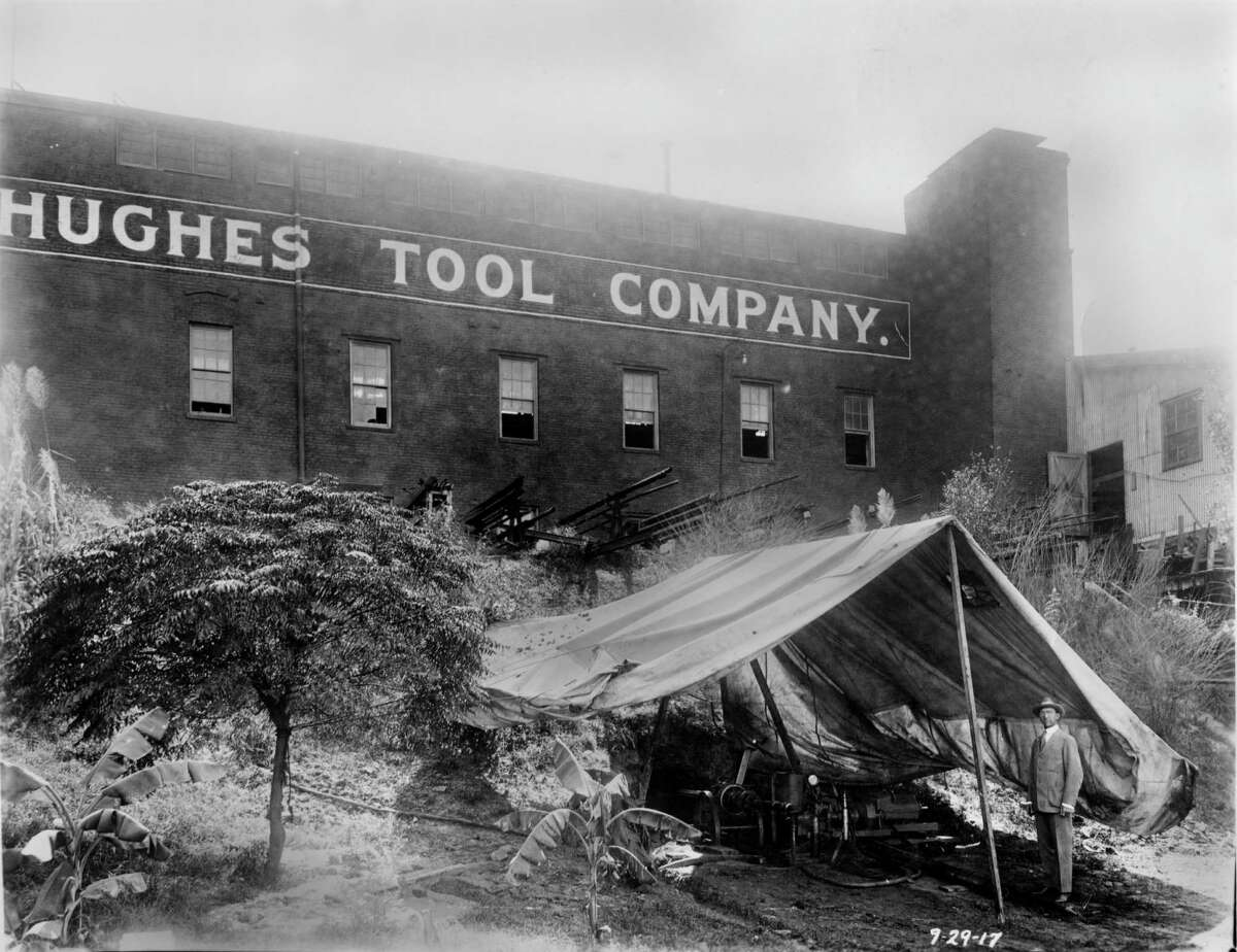 The horizontal boring machine setting inside the tent was invented by Howard Hughes Sr. to bore underneath enemy trenches in World War I, but was never used.