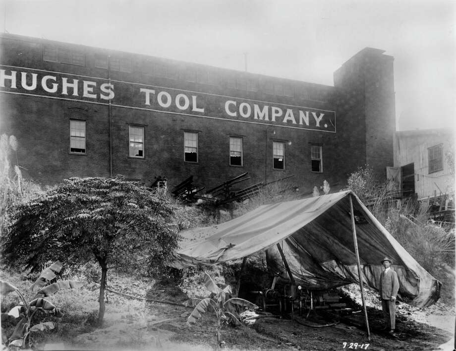 The horizontal boring machine setting inside the tent was invented by Howard Hughes Sr. to & Howard Hughes Sr. changed oil industry and Houston forever ...