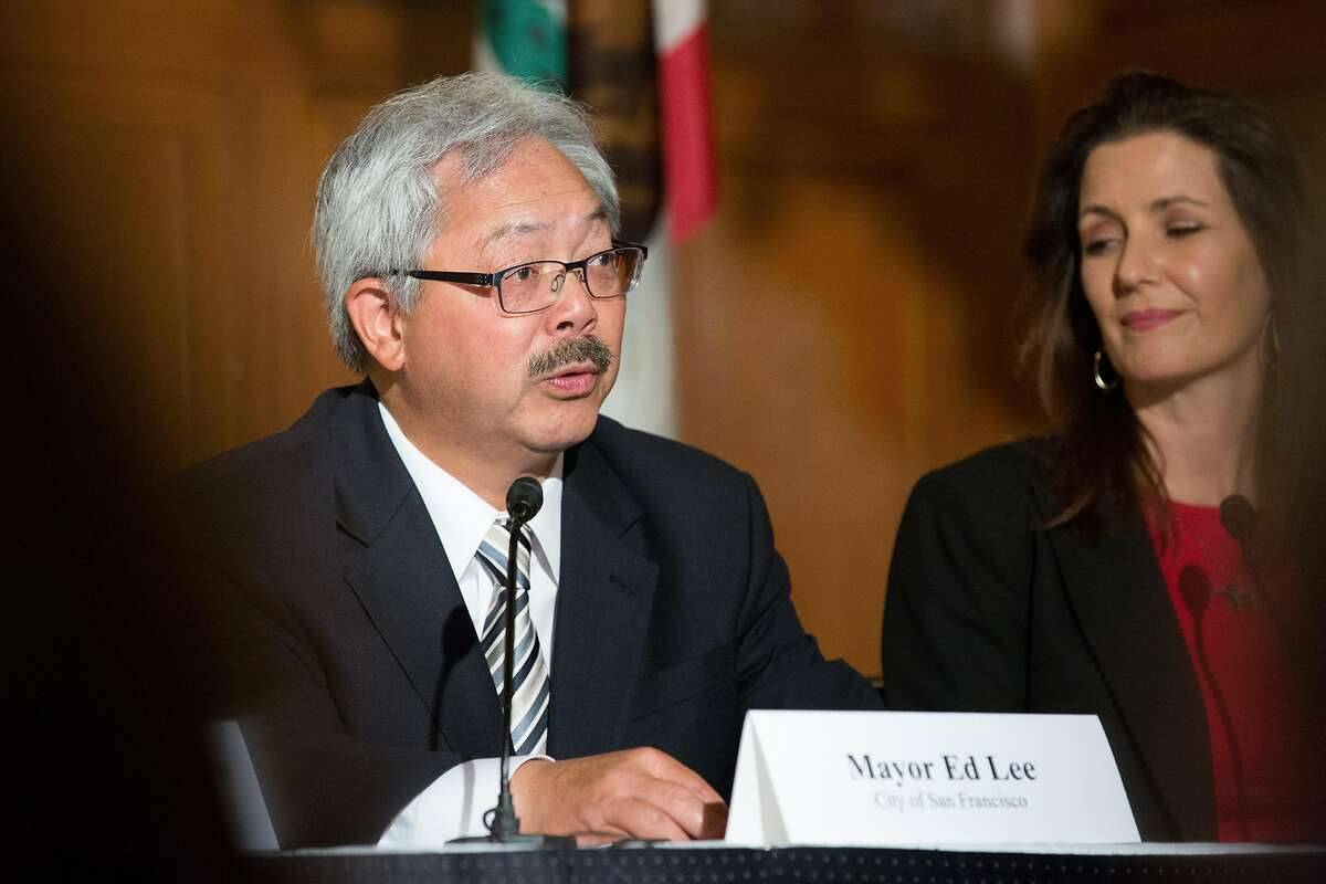 Mayor Ed Lee Governor speaks at the signing of the Pacific Coast Collaborative members� commitment to reducing greenhouse gas emissions in San Francisco, Calif. on Wednesday, June 1, 2016.