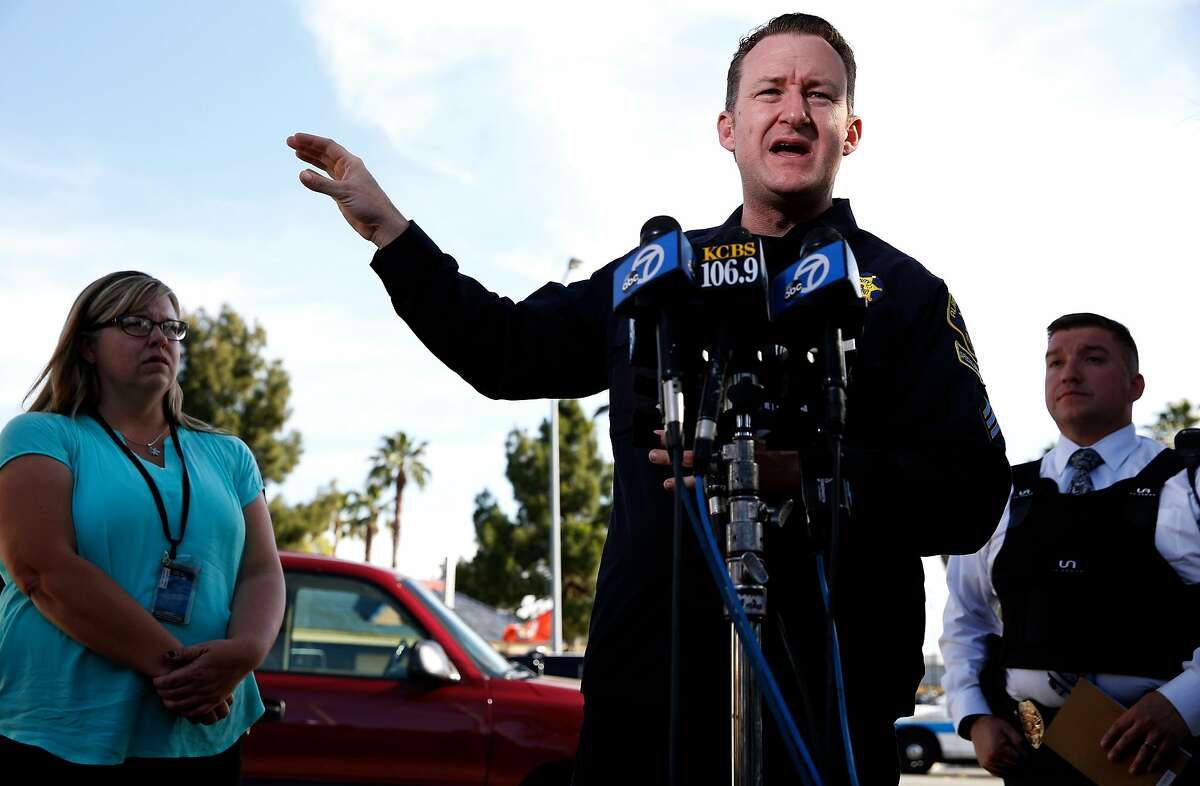 Ray Kelly, spokesman for the Alameda County Sheriff's Office, speaks to members of the media during a news conference near the scene of an officer-involved shooting at Fremont Boulevard and Irvington Avenue in Fremont, California, on Wednesday, June 1, 2016.