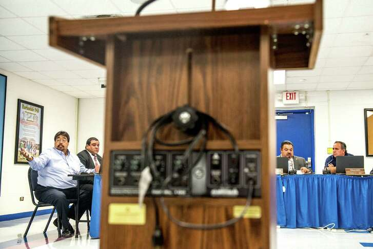 Harlandale ISD board of trustees talks to members of the community during a meeting where they discussed the procedure for renaming schools, but no vote was taken on whether to rename Vestal Elementary after late Tejano star Emilio Navaira, in San Antonio, Texas on Wednesday, June 1, 2016.