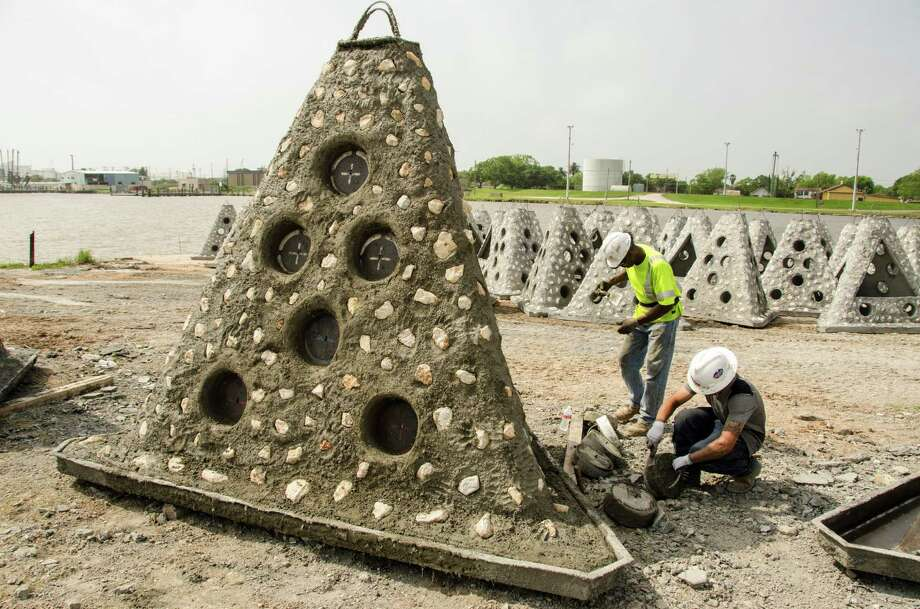 Five hundred concrete pyramids, specially designed to provide high-quality habitat for marine life, will be the first structures placed in the state's latest artificial reef project, a 381-acre area about six miles off Port O'Connor. Photo: Chris Ledford