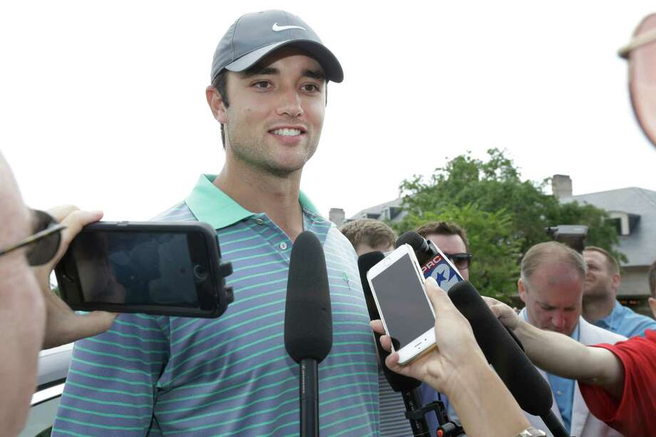 Texans QB Brock Osweiler speaks to the media during the Texans charity golf tournament at River Oaks Country Club, 1600 River Oaks Blvd., Monday, May 9, 2016, in Houston.  ( Melissa Phillip / Houston Chronicle ) Photo: Melissa Phillip, Staff / © 2016 Houston Chronicle