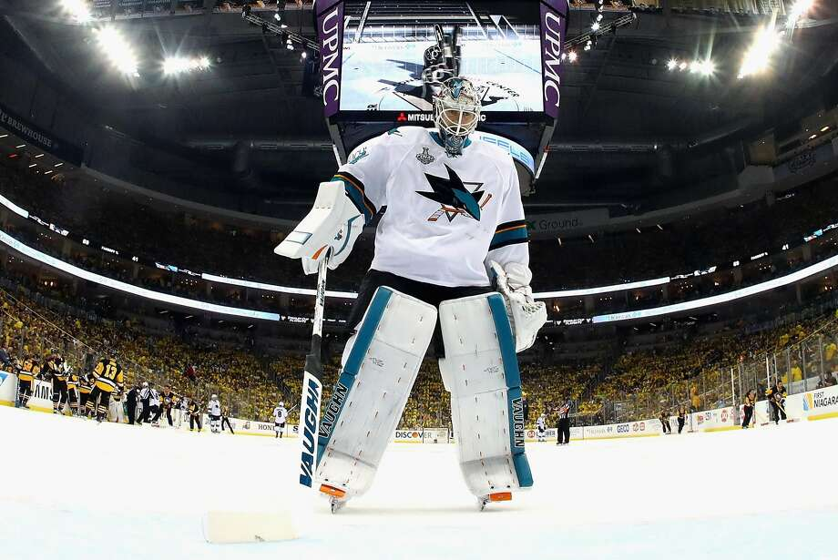 PITTSBURGH, PA - JUNE 01:  Martin Jones #31 of the San Jose Sharks looks on during the second period against the Pittsburgh Penguins in Game Two of the 2016 NHL Stanley Cup Final at Consol Energy Center on June 1, 2016 in Pittsburgh, Pennsylvania.  (Photo by Bruce Bennett/Getty Images) Photo: Bruce Bennett, Getty Images