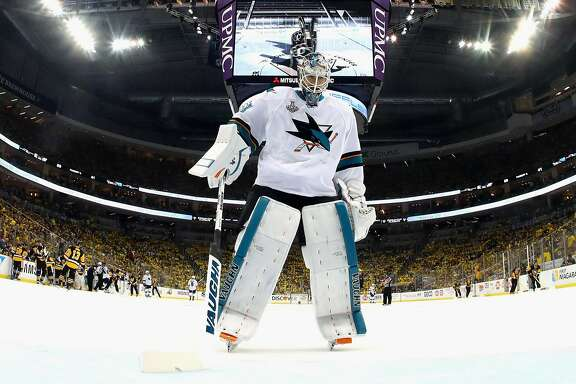 PITTSBURGH, PA - JUNE 01:  Martin Jones #31 of the San Jose Sharks looks on during the second period against the Pittsburgh Penguins in Game Two of the 2016 NHL Stanley Cup Final at Consol Energy Center on June 1, 2016 in Pittsburgh, Pennsylvania.  (Photo by Bruce Bennett/Getty Images)