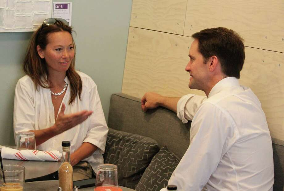 Rep. Jim Himes (CT-04) speaks with Alison Reilly in Westport, Conn. about her son Aidan Reilly's intention on applying to West Point on Wednesday, June 1, 2016. Photo: Chris Marquette / Hearst Connecticut Media / Westport News