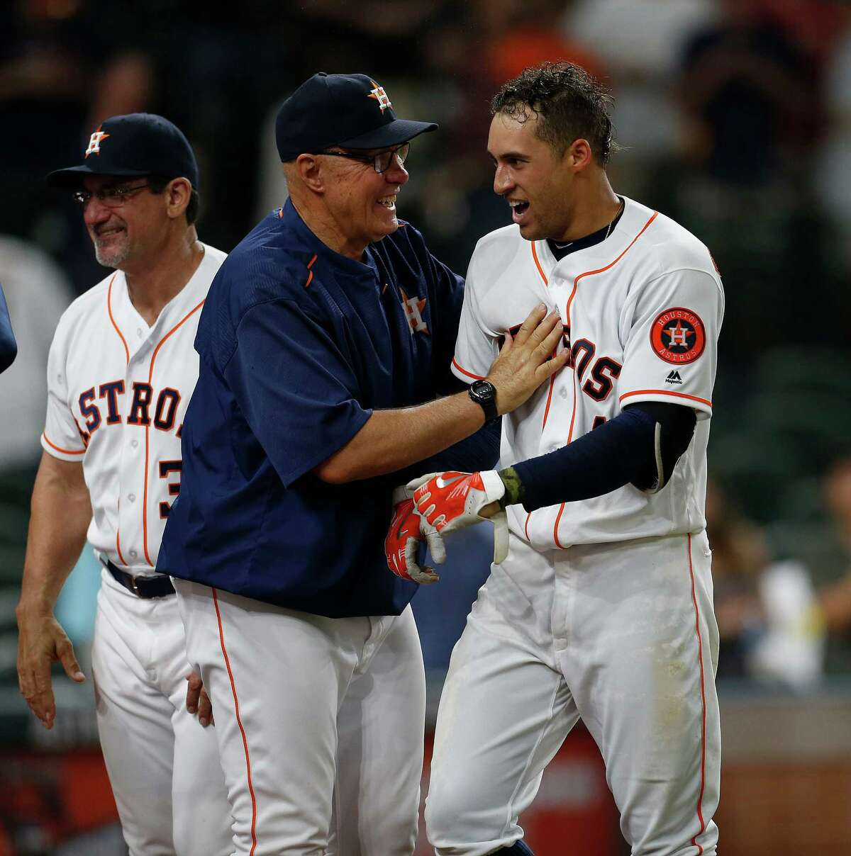 June 1: Astros 5, Diamondbacks 4 (11) Houston Astros George Springer celebrates with pitching coach Brent Strom after he hit game winning walk off home run in the eleventh inning of an MLB baseball game at Minute Maid Park, Wednesday, June 1, 2016, in Houston.