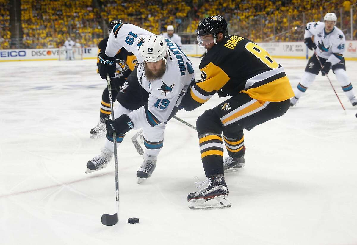 PITTSBURGH, PA - JUNE 01: Joe Thornton #19 of the San Jose Sharks skates against Brian Dumoulin #8 of the Pittsburgh Penguins during the third period in Game Two of the 2016 NHL Stanley Cup Final at Consol Energy Center on June 1, 2016 in Pittsburgh, Pennsylvania. (Photo by Justin K. Aller/Getty Images)