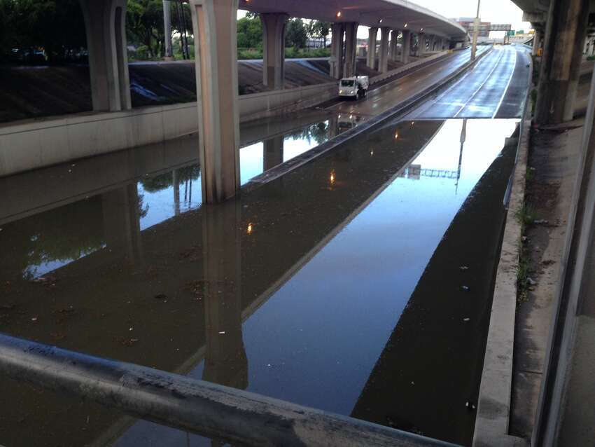 Interstate 35 near downtown San Antonio is flooded after storms swept through the area June 2, 2016.