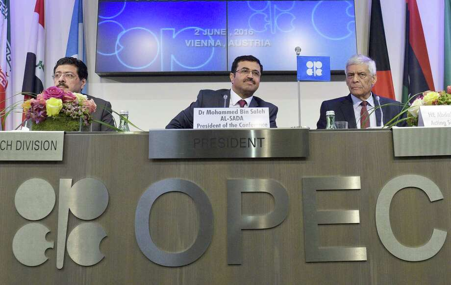 Omar Abdul Hamid (from left), OPEC director of research division; Mohammed Bin Saleh Al-Sada, minister of energy and industry of Qatar and president of the OPEC conference; and Abdallah Salem El-Badri, OPEC's secretary general attend a news conference after Thursday's meeting. OPEC's failure to reach an agreement for a new output ceiling leaves members pumping as much as they want. Photo: Hans Punz /AFP /Getty Images / AFP