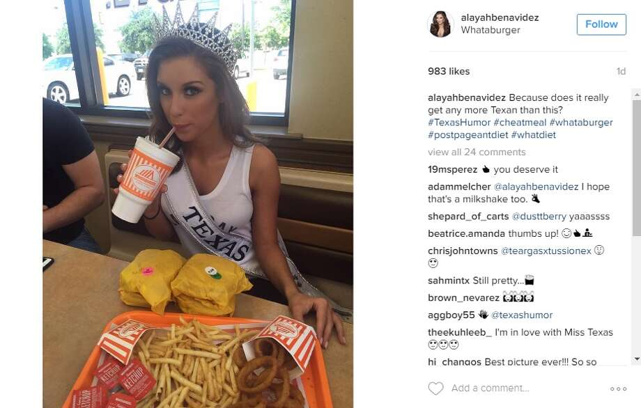 Miss Texas Alayah Benavidez, celebrated her title win at a Whataburger in San Antonio on June 1, 2016.