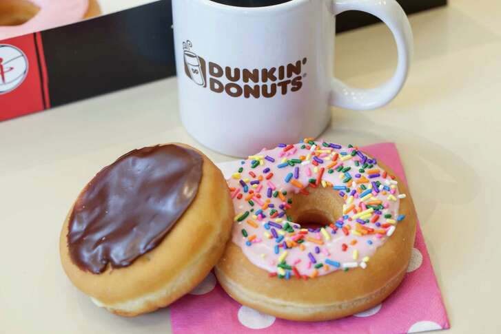 Donuts and coffee from Dunkin' Donuts which will mark National Donut Day on June 3, 2016.