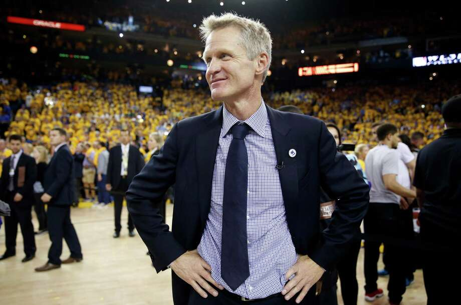 Warriors coach Steve Kerr said the decision to trust a small lineup during last year's title run was made easier by the Spurs. Photo: Scott Strazzante / San Francisco Chronicle / ONLINE_YES