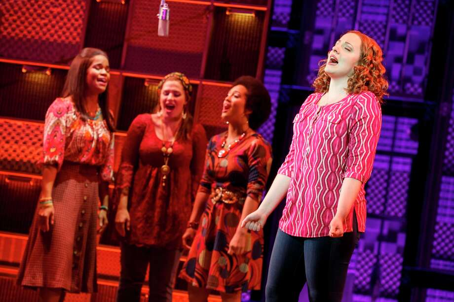"Abby Mueller (Carole King) performs with Britney Coleman, Sarah Bockel and Ashley Blanchet in ""Beautiful - The Carole King Musical."" Photo: Handout, Getty Images / 2016 Broadway Across America"