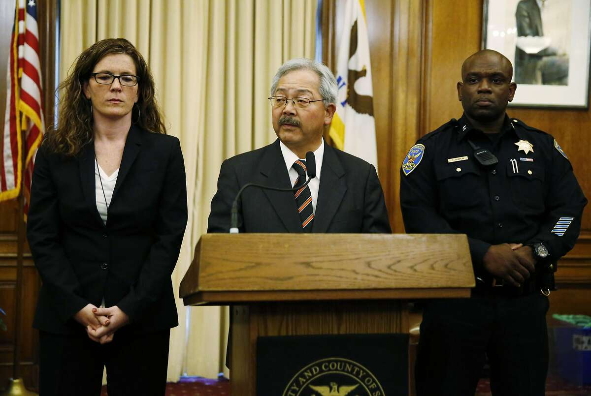 San Francisco Mayor Ed Lee, center, announces the resignation of Chief of Police Greg Suhr while being flanked by Suzy Loftus, left, president of the Police Commission, and the new acting Chief Toney Chaplin, right, during a press conference at City Hall in San Francisco, on Thursday, May 19, 2016. San Francisco's police chief resigned Thursday at the request of the mayor hours after an officer fatally shot a young black woman driving a stolen car � the culmination of several racially charged incidents in the past year. (Connor Radnovich/San Francisco Chronicle via AP) MANDATORY CREDIT PHOTOG & CHRONICLE; MAGS OUT; NO SALES
