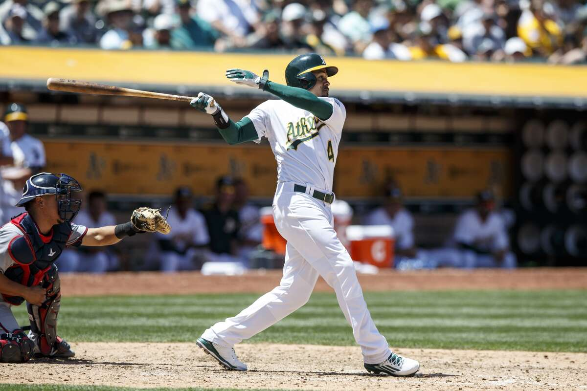 OAKLAND, CA - JUNE 01: Coco Crisp #4 of the Oakland Athletics hits an RBI single against the Minnesota Twins during the sixth inning at the Oakland Coliseum on June 1, 2016 in Oakland, California. The Oakland Athletics defeated the Minnesota Twins 5-1. (Photo by Jason O. Watson/Getty Images)
