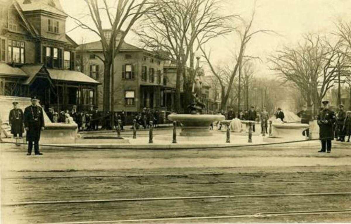 The Wheeler Memorial Fountain, built in 1912 at the intersection of Park and Fairfield Avenues, in Bridgeport, Conn.