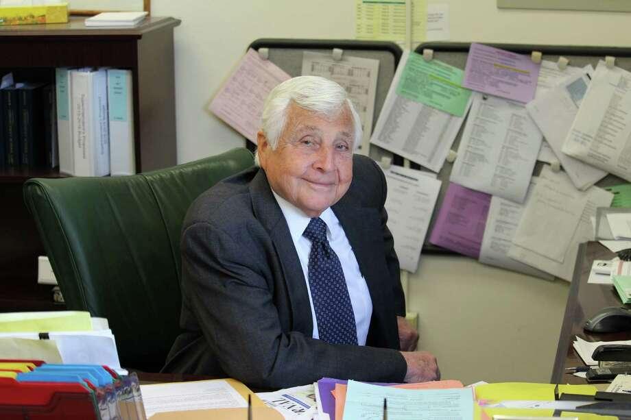 Retiring Superintendent of Schools Elliot Landon sits at his desk in Westport. Photo: Chris Marquette / Hearst Connecticut Media / Westport News