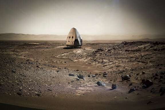 In an undated handout image, an artist�s conception of the SpaceX Dragon capsule on the surface of Mars. Elon Musk�s rocket company hopes to launch a Mars-bound rocket as early as 2018, part of SpaceX�s long-term goal to colonize the Red Planet. (SpaceX via The New York Times) -- NO SALES; FOR EDITORIAL USE ONLY WITH STORY SLUGGED SPACEX-MARS BY CHANG FOR APRIL 28 2016. ALL OTHER USE PROHIBITED. �