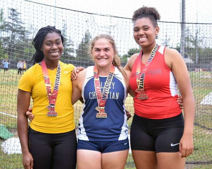 L-R Pamela Amaechi (Lincoln), Elena Bruckner (Valley Christian) and Hannah-Sophia Hall (James Logan), all Bay Area shot putters and discus throwers participating at the state track meet.