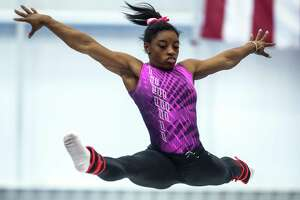 Gymnast Simone Biles works out at World Champion Centre on Friday, May 20, 2016, in Houston. Biles is preparing for  Olympic trials in leading up the Rio games. ( Brett Coomer / Houston Chronicle )