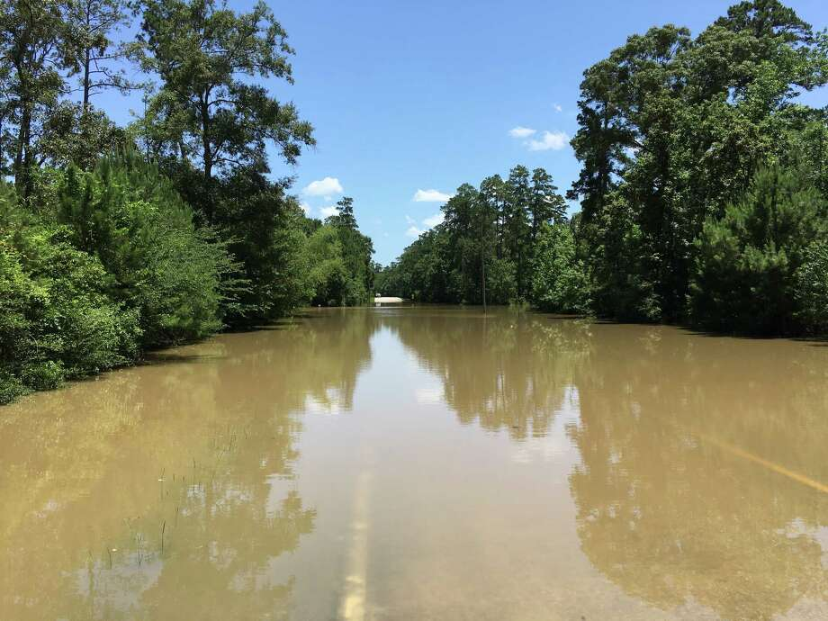 Spring Creek flooded roads around The Woodlands on May 28. Eastbound Flintridge Drive, east of Kuykendahl and west of Gosling, between Rush Haven and Falconwing. More heavy rains rolled through the region Wednesday and Thursday.