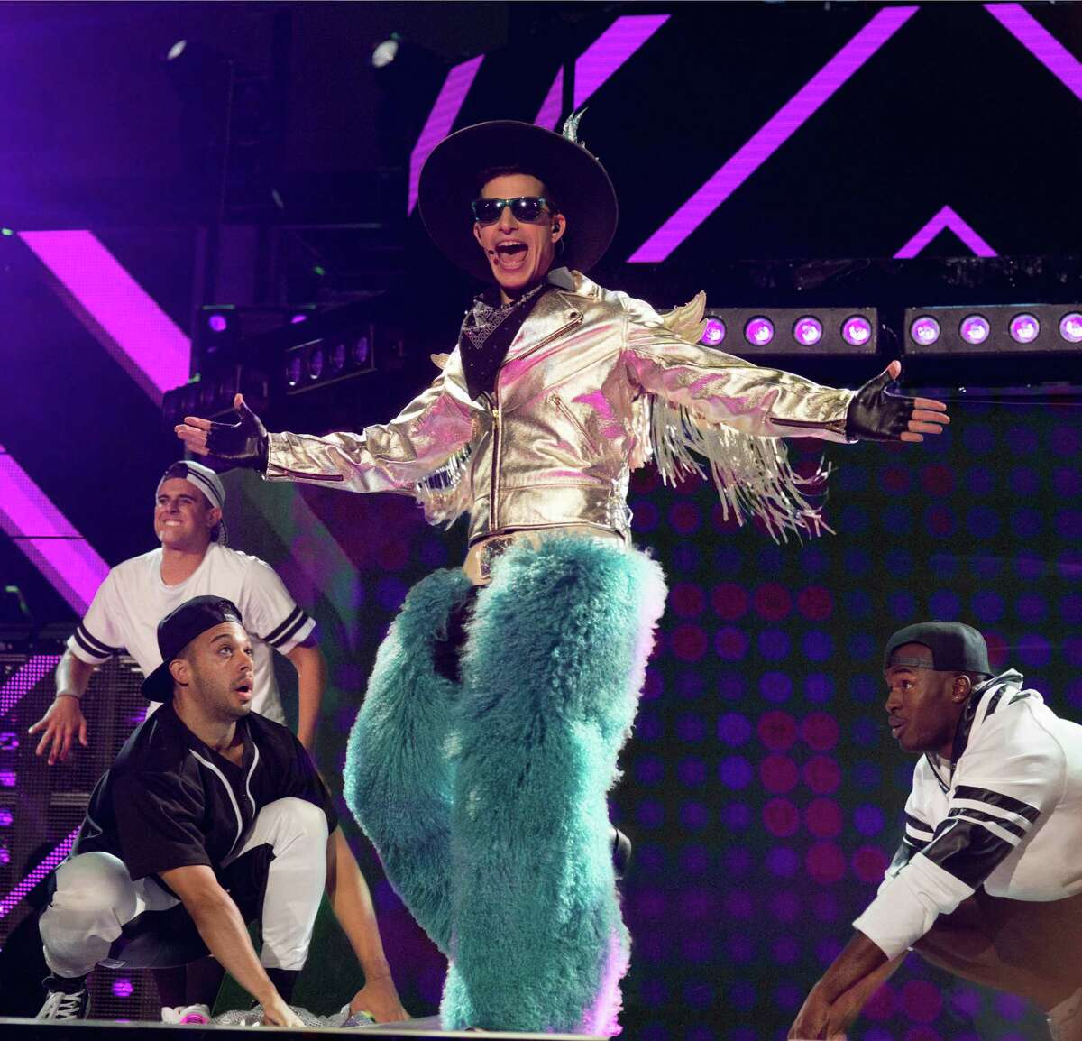 """Andy Samberg stars in """"Popstar: Never Stop Never Stopping,"""" a parody about a Beastie Boys-esque rap group with a Justin Bieber-like frontman."""