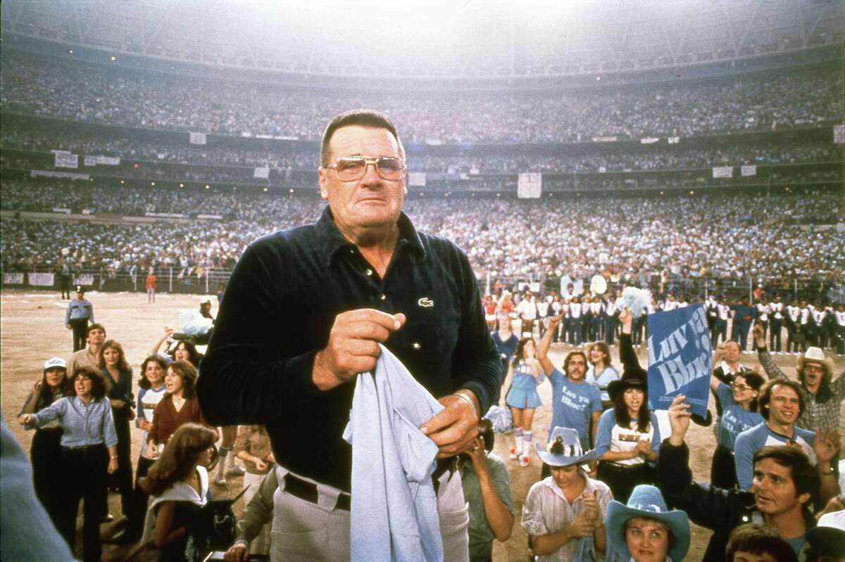 Houston Oilers coach Bum Phillips shows the emotion that he shared with many of his players as they were welcomed by a crowd of more than 55,000 inside the Astrodome on Jan. 6, 1980 after losing the AFC Championship game in Pittsburgh for the second straight season.