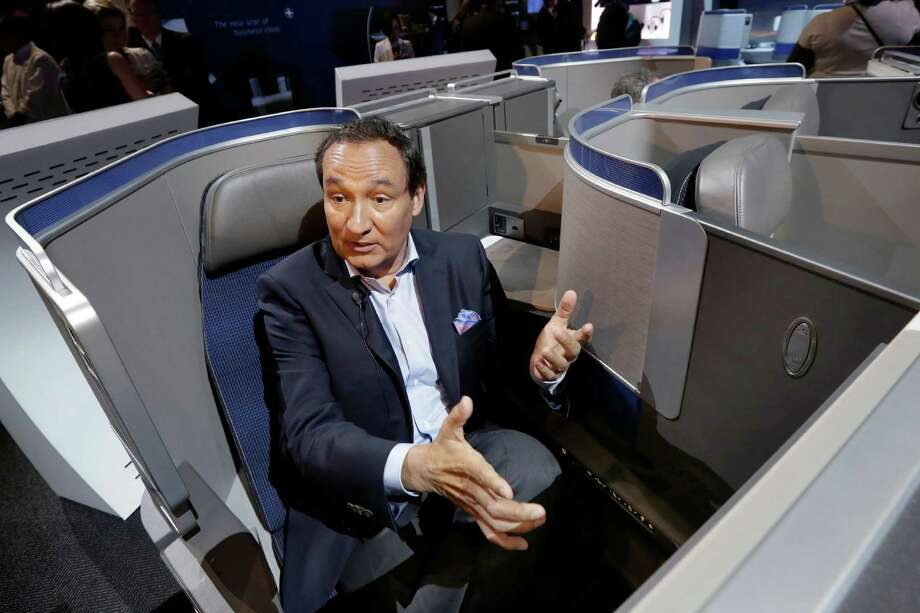United Airlines CEO Oscar Munoz discusses the seating configuration of the carrier's new Polaris service during a Thursday presentation in New York. After a January heart transplant, Munoz returned to work full-time in March. Photo: Richard Drew, STF / Copyright 2016 The Associated Press. All rights reserved. This material may not be published, broadcast, rewritten or redistribu