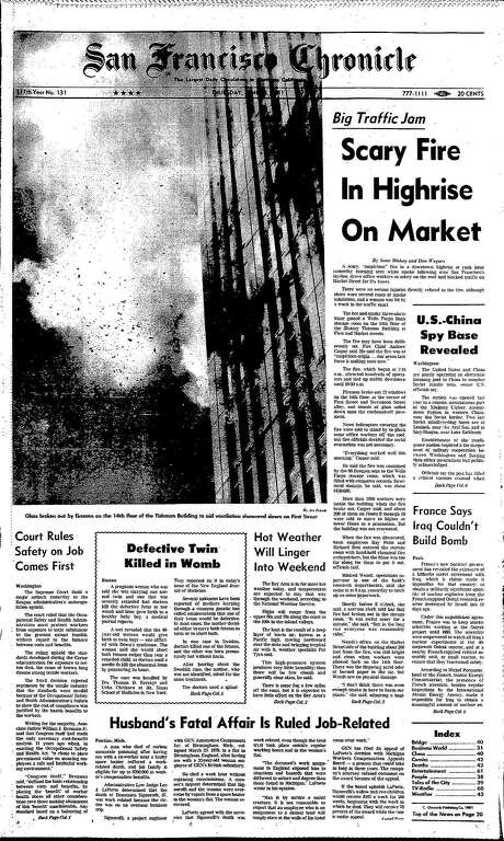 The Chronicle's front page from June 18, 1980, covers a fire in the upper floors of a San Francisco high-rise.