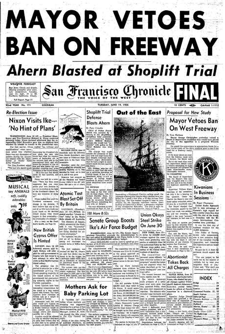 The Chronicle's front page from June 19, 1956, covers Mayor George Christopher's veto of a San Francisco freeway ban.