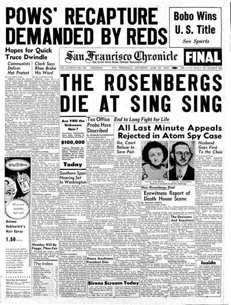 The Chronicle's front page from June 20, 1953, covers the executions of the Rosenbergs.