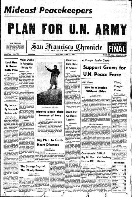 The Chronicle's front page from June 22, 1967, covers the beginning of the Summer of Love.
